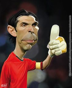 Gianluigi Buffon, Goalkeeper and Captain of Juventus and Italy Cartoon Faces, Funny Faces, Cartoon Drawings, Cartoon Characters, Funny Caricatures, Celebrity Caricatures, New Photo Style, Create A Comic, Soccer Art