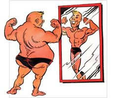 """""""Why You're Not as Good as You Think You Are"""" - Click to listen to the podcast ... Image: Illusory superiority, man in mirror"""