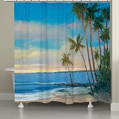 Almost like showering in the tropics, the Tropical Breeze Shower Curtain features a photo-real beach scene with palm trees swaying in the wind. This soothing, waterside image is a great shower curtain for any bathroom décor. Tropical Bathroom, Beach Bathrooms, Budget Bathroom, Bathroom Ideas, Hall Bathroom, Bathroom Organisation, Tropical Colors, Tropical Decor, Vibrant Colors