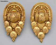 Funerary Earrings, Granulation Etruscan 4th BC