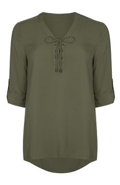 Olive Tie-Front Dobby Blouse