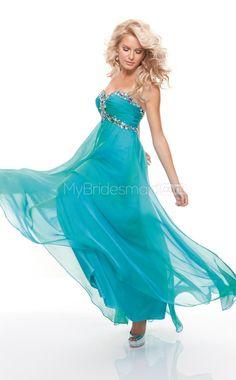 Silk Like Chiffon A-line Sweetheart Sweep Train Turquoise Ball Dresses(NZJT06792)