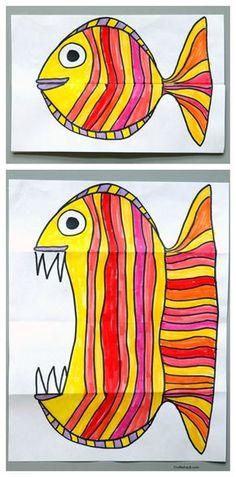 Malen und Basteln mit Kindern - lustige Aufklappbilder *** Folding Fish paper art project. Art for kids, easy art projects