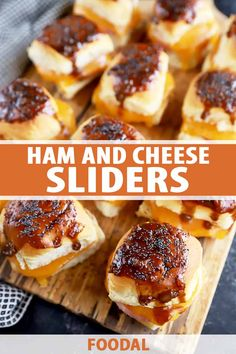 Whether you're tailgating at home or you need a last minute snack to feed a crowd, baked ham and cheese sliders are super simple to make, and totally flavorful. The onion Worcestershire sauce pops on your taste buds and the melted cheddar is gooey perfection. Get the recipe now on Foodal. #sliders #hamandcheese #foodal