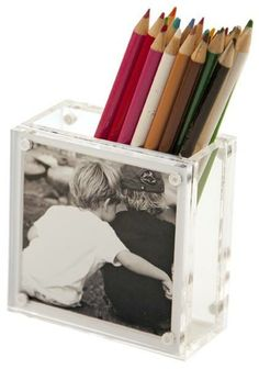 Two sided photo frame and pencil holder available at Coastal Décor, Fair Haven, NJ. www.CoastalDecorandDesign.com