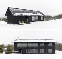 The black exterior of this modern home contrasts the winter landscape that exists most of the year.