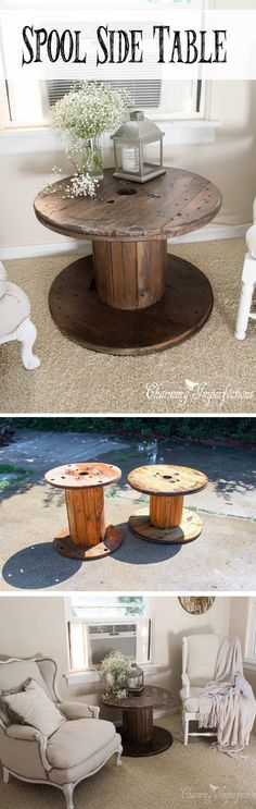 Easy Industrial Wooden Spool Accent Table
