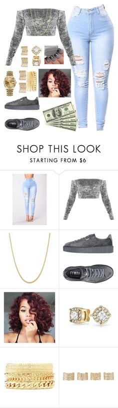"""Untitled #515"" by queen-sugah900 ❤ liked on Polyvore featuring Puma, Bling Jewelry, Charlotte Russe, Maison Margiela and Rolex"