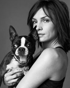 Famke Janssen (X-men) and her Boston Terrier ... Brought to you in part by StoneArtUSA.com ~ affordable custom pet memorials since 2001