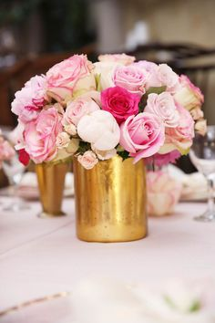 Pink roses + gold vessels are perfect for my southern wedding #HIGHCOTTON #SOUTHERNWEDDINGS