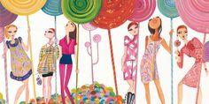 Spring Time Candy Land, 2012; Ruben Toledo, Vogue Japan, left to right: Valentino, Miu Miu, Jil Sander, Balenciaga, Blumarine, Chanel; watercolor