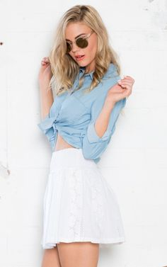 Working Hard Crop Shirt in Chambray $55. This shirt is a must have for all seasons. The relaxed fit is perfect for everyday wear but easily transform it into a going out look by pairing it with a skirt and high heels.  www.showpo.com #iloveshowpo #showpo