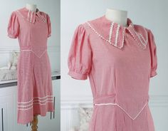 1930/40's Cotton Dress Polkadots Sz 12 . by FabulousFlapperFinds