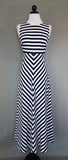 ESCADA $1425 Long Navy Blue and White Stripe Chevron Stretch Knit Dress Size 40 #ESCADA #ALineDress #Casual