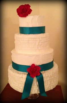 Rustic Ruffle Wedding Cake with teal ribbon and red roses by Sweet For Sirten <3
