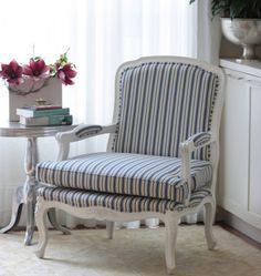 Blue stripe French Provincial armchair - custom made by My Bespoke Chair