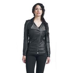 Black Stud Detail Studded Faux Leather Jacket by Black Premium @ EMP $90 LOVE