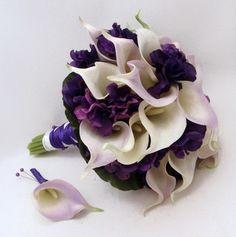 Real Touch Calla Lily Hydrangea Wedding Bouquet Groom's Boutonniere | SongsFromTheGarden - Wedding on ArtFire