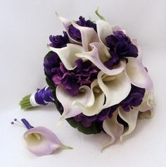 Wedding Bridal Bouquet Real Touch Calla Lily Hydrangea Bridal Bouquet