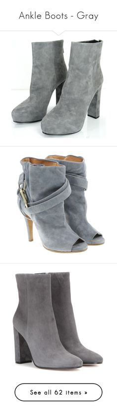 """""""Ankle Boots - Gray"""" by stylesbymimi ❤ liked on Polyvore featuring shoes, boots, ankle booties, high heel ankle boots, suede ankle boots, grey ankle boots, platform ankle boots, gray booties, grey and gray ankle boots"""