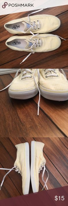 SPERRY TOP SIDER seersucker shoes SPERRY TOP SIDER yellow white stripe, seersucker canvas tennis/boat shoes. Worn a few times, good condition, small mark on top of left shoe- see first photo. Sperry Top-Sider Shoes