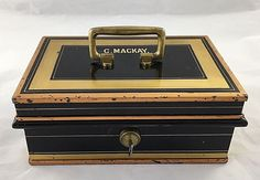 Milners' Safe Co. Antique Painted Metal & Brass Cash Box with Original Key #MilnersSafeCompanyofLondon