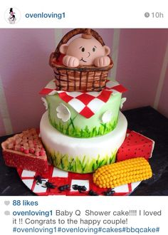 Love this picnic themes baby shower cake!