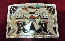 B&C Shack Zuni Sterling Turquoise Onyx Coral Thunderbird Inlay buckle $395.00
