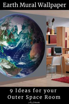 An Earth Mural + 8 Other Ideas for an Outer Space Room World Map Wallpaper, Kids Room Wallpaper, Wall Wallpaper, Little Hands Wallpaper, Outer Space Bedroom, Man Cave Wall Art, Baby Nursery Themes, Collage Picture Frames, Deco