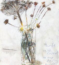 kurt jackson, thrift, wild carrot -- still life painting Kurt Jackson, Botanical Art, Botanical Illustration, Illustration Art, Illustrations, Art Floral, St Just, Still Life Flowers, Still Life Art