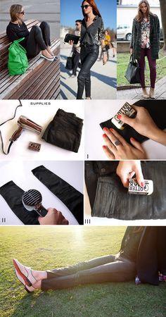 DIY Calça com aparência de couro | só é preciso cera e secador de cabelo