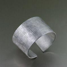 Linen Texturized Aluminum Cuff  - 10th Anniversary Gift - Aluminum Cuff - Handmade Jewelry by John S Brana