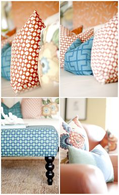 Ashlee Raubach Photography: Interiors- love the orange geometric pattern with the floral and the blue