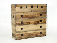 Old chest style dresser. Old Chest, House Design, Storage, Interior, Bookcases, Dressers, Front Porch, Furniture Ideas, Cabinets
