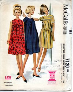 McCalls 7120 1960s Misses Juniors Yoked Dress Pattern Easy Mother Daughter Fashion Womens vintge sewing pattern by mbchills