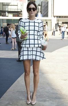 Grid sweater and skirt - fall street style