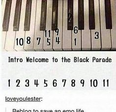 Intro to Welcome to the Black Parade My Chemical Romance piano My Chemical Romance, Band Nerd, Emo Bands, Music Bands, Music Is Life, My Music, Partition Piano, All Meme, Gerard Way