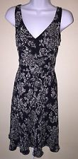 Ann Taylor LOFT Black White Floral SILK DRESS Size 4 Sleeveless V Neck