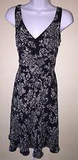 Ann Taylor LOFT Black White Floral SILK DRESS Size 4 Sleeveless V Neck