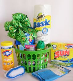College Days - Dorm Room Clean-Up Gift Basket                                                                        Everything they will need to spruce up and freshen their new dorm room!                  We have packed this basket full of cleaning supplies that will be a welcomed gift for any college student moving into their new dorm room.