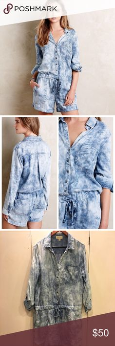 Cloth & Stone Piper Denim Blue Romper Large Cloth & Stone Piper Denim Romper Jumpsuit. Tencel Lyocell Blue Denim material. Button up front. Drawstring waist. Size large. Excellent condition! Anthropologie Pants Jumpsuits & Rompers