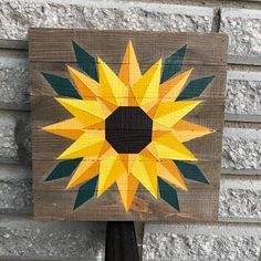 Farm Wood Décor hand painted this barn quilt on a rustic wooden canvas. We use a weather resistant primer and quality paints. Then we apply a UV resistant exterior sealer. Approximate size is This would make a great indoor or outdoor decoration. Barn Quilt Designs, Barn Quilt Patterns, Quilting Designs, Sunflower Quilts, Painted Barn Quilts, Barn Signs, Wooden Barn, Rustic Barn, Barn Art