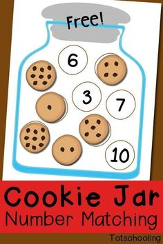 Cookie Jar Number Matching Free Printable. This Cookie Jar Number Matching activity includes numbers 1-10 and comes in two levels of difficulty. One jar shows numbers and another jar shows number words for children learning to read. Download this FREEBIE at: www.totschooling....