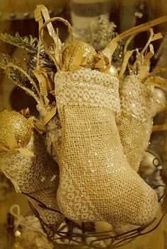 Cute Burlap stockings with lace trim.