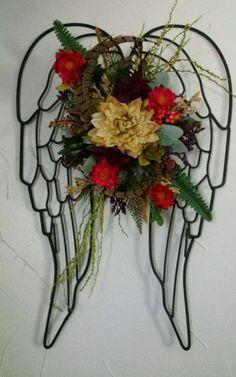 Artificial Floral Flower Arrangement Metal Angel Wings Multi Color Wall Decor In Home Amp Garden