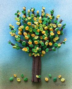 Autumn Tints II, 8.3 x 6.7 inches 3d quill, paper quill, autumn tint, sandi bthe, craft idea, quill anim