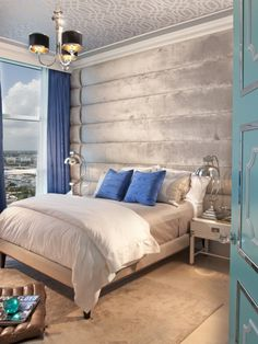 Eclectic Bedroom Design in Silver and Blue