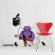 These adorable musician wall stickers are sure to open your kids' imagination and create a nusical scene during their playtime. This vinyl wall sticker from the Paul Frank wall art collection is perfect for kids rooms decoration. Music Wall Decor, Music Wall Art, Cool Wall Art, Wall Stickers Murals, Wall Decals, Paul Frank, Inspiration For Kids, Alter Ego, Kids Rooms