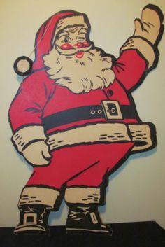 Vtg LG Corrugated Cardboard Christmas Santa Claus Die Cut Advertising Display   eBay