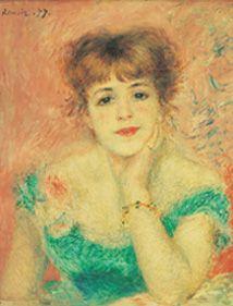 """Pierre-Auguste Renoir, Portrait de l'actrice Jeanne Samary, huile sur toile, 1877. Musée Pouchkine, Moscou. Dans """"Correspondances Impressionnistes"""", Editions Diane de Selliers"""